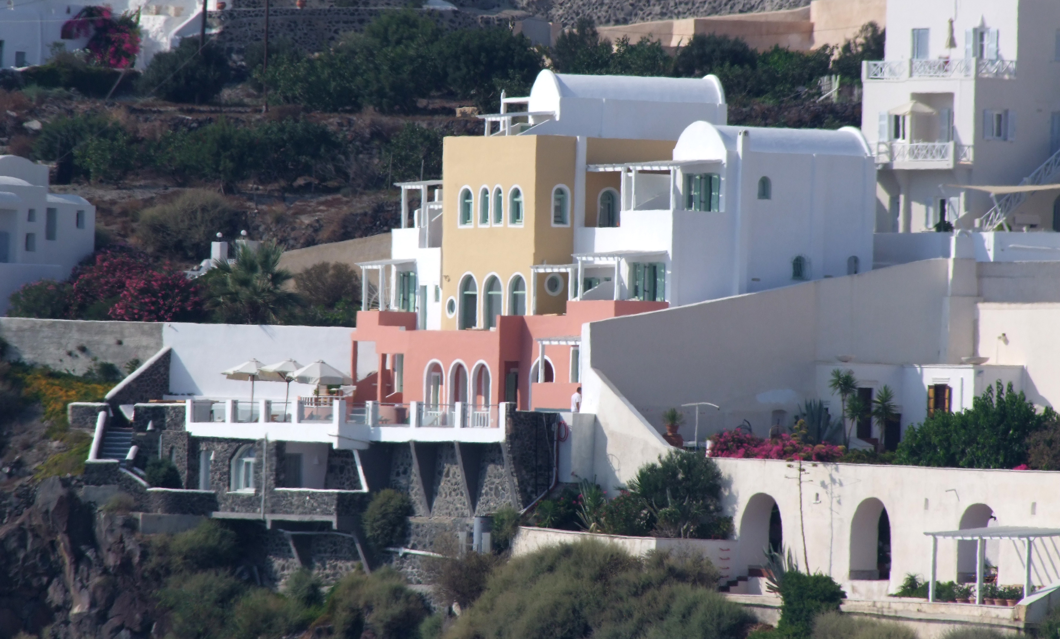 The caldera view building of Ira Hotel & Spa in Santorini!