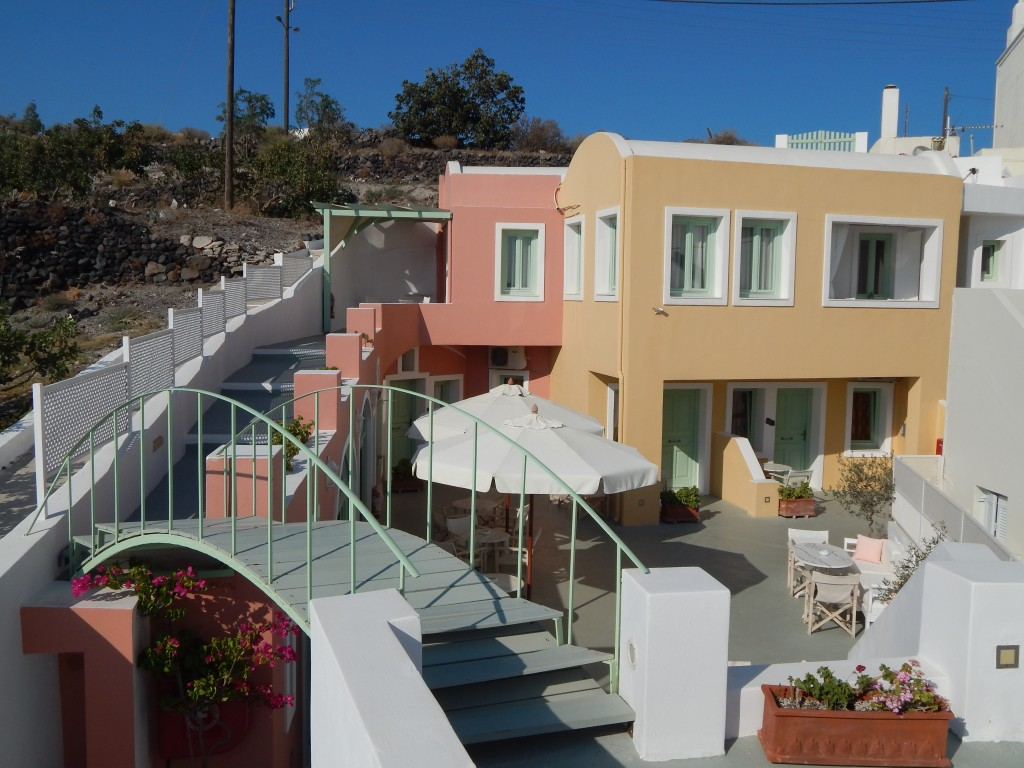 Panoramic view of the traditional dwellings of Ira Hotel in Santorini!