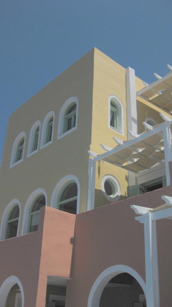 The main caldera view building of Ira Hotel in Santorini!