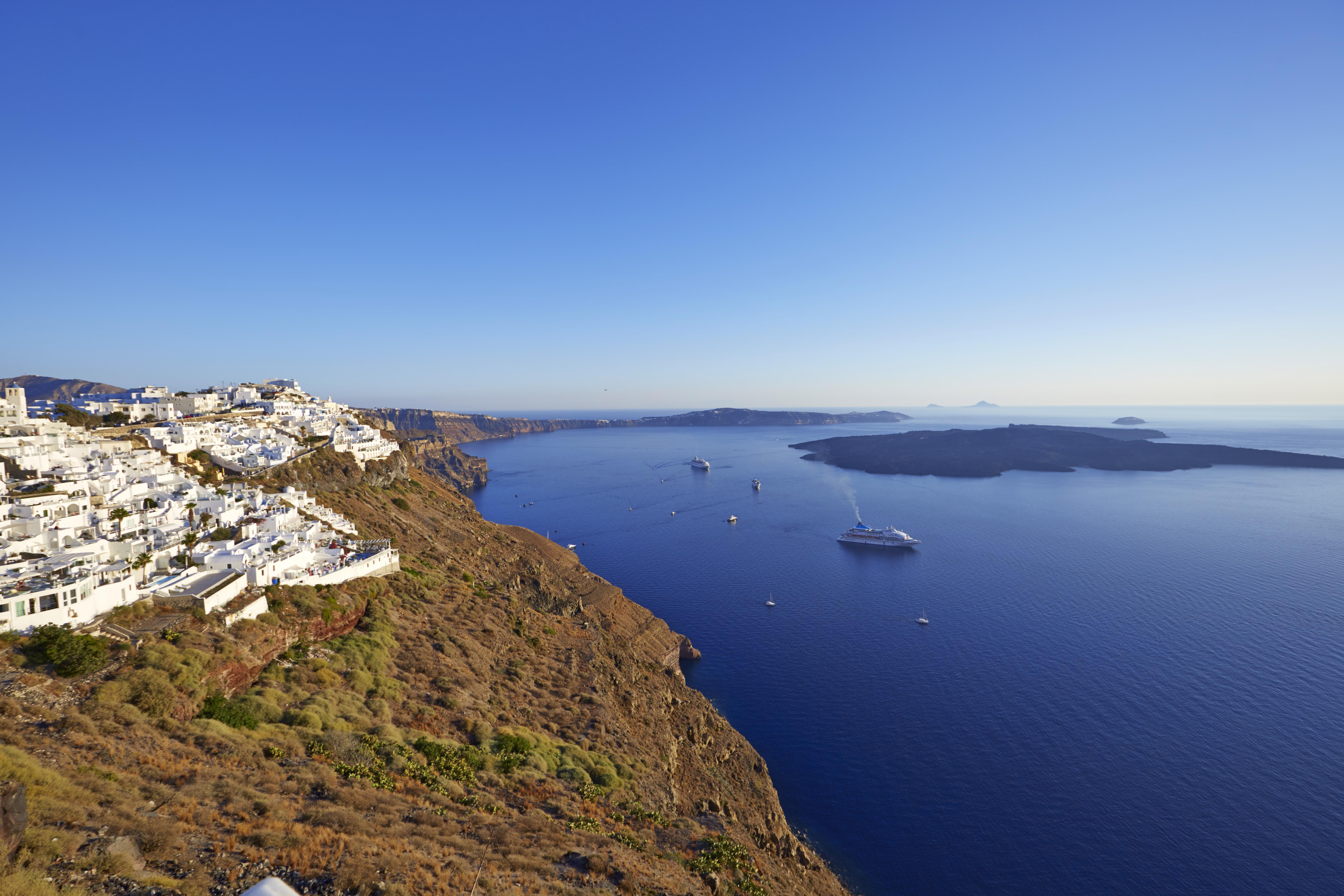 Santorini's Caldera in September. Ira Hotel & Spa in Firostefani