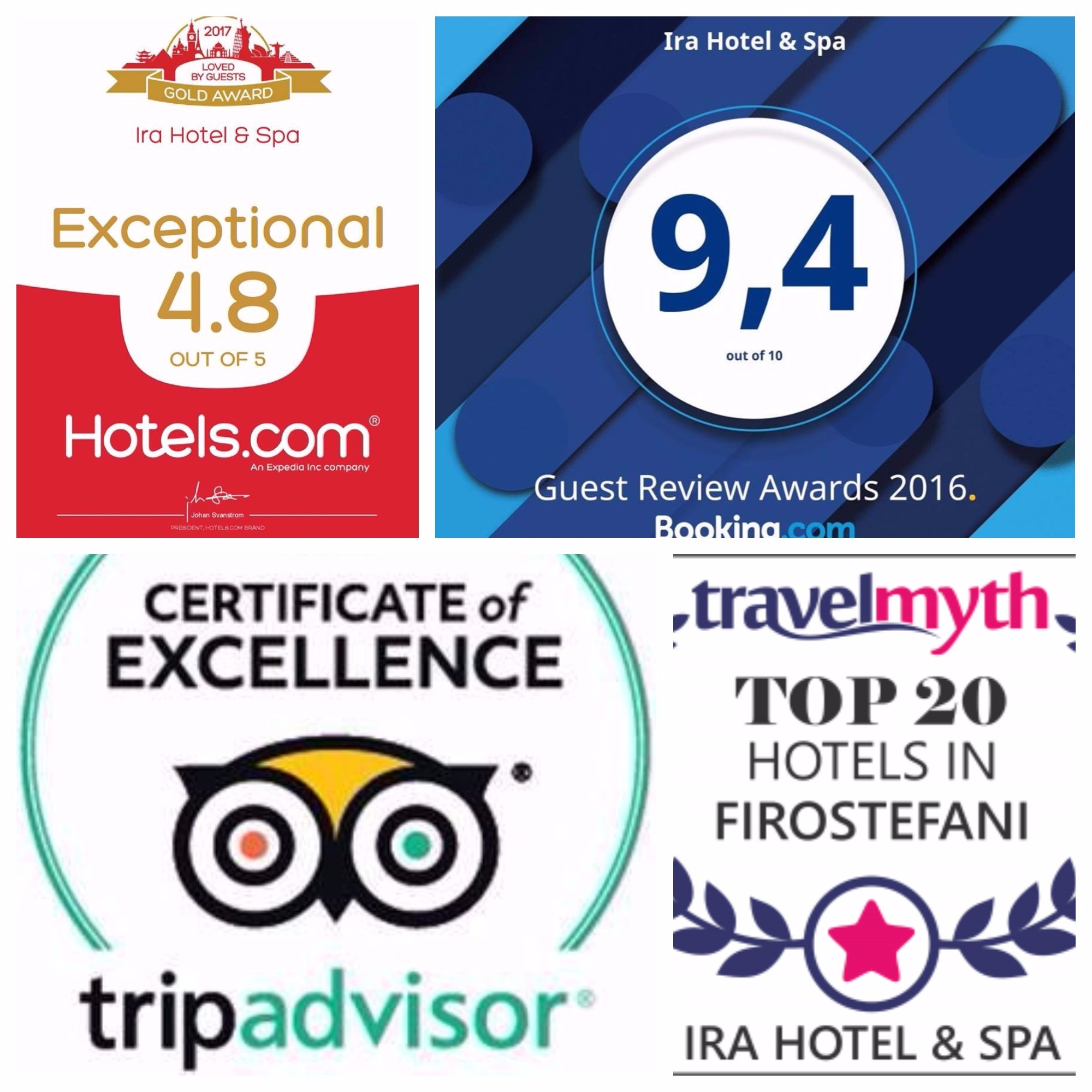 The Ira Hotel & Spa in Santorini Awards!